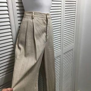 Ellen Tracy high rise pleated linen pants size 4 T